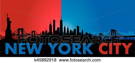 New York City Skyline Vector Clip Art K45892918 Fotosearch