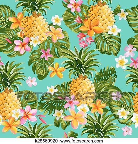 Clipart Pinapples Y Flores Tropicales Plano De Fondo Vintage