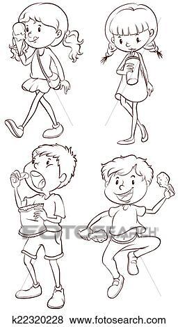 Clip Art - simple, dibujos, de, niños, toma, su, bocados k22320228 ...