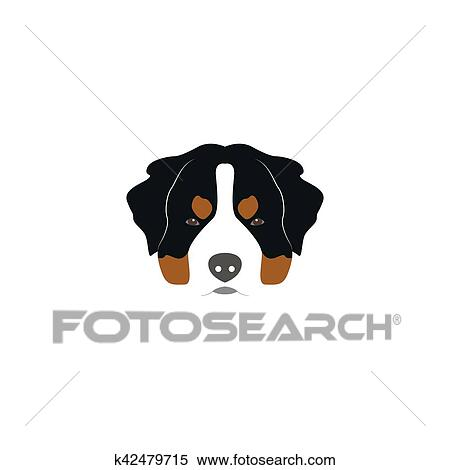 clipart of st bernard dog head k42479715 search clip art