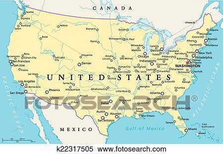 Stati Uniti Cartina Politica.Stati Uniti America Mappa Clipart K22317505 Fotosearch