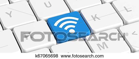 Wi Fi Concept Blue Key Button With Wifi Sign On A Computer Keyboard Banner 3d Illustration Stock Photo K67065698 Fotosearch