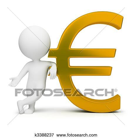 87de50ddd 3d, mały, ludzie, -, euro znak Kolekcje Ilustracji | k3388237 ...