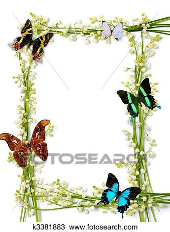 Stock Photo of Colorful Summer Frame With Butterflies k3381883 ...