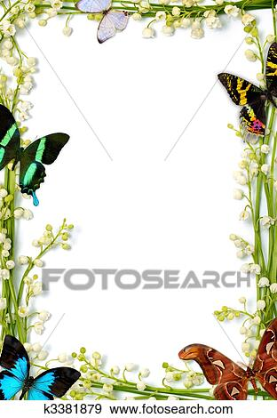 Stock Photograph of Colorful Summer Frame With Butterflies k3381879 ...