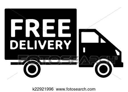 clip art of free delivery truck free shipping k22921996 search rh fotosearch com food delivery truck clipart delivery truck clipart images