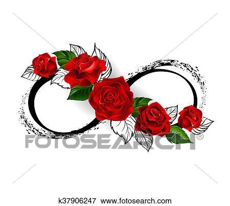 Archivio Illustrazioni Infinità Simbolo Con Rose Rosse
