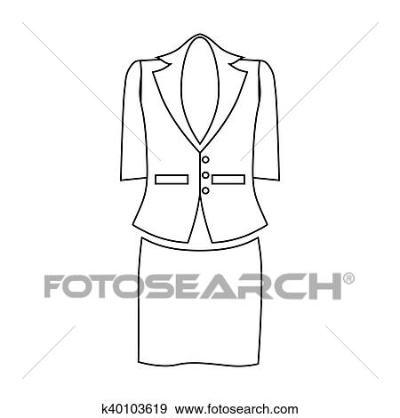 Clip Art Of Ladies Suit For Business Women Icon Outline Style