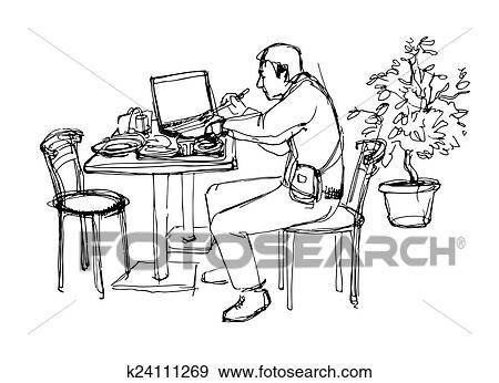 Stock Illustration Of Man At The Lanch In Cafe K24111269