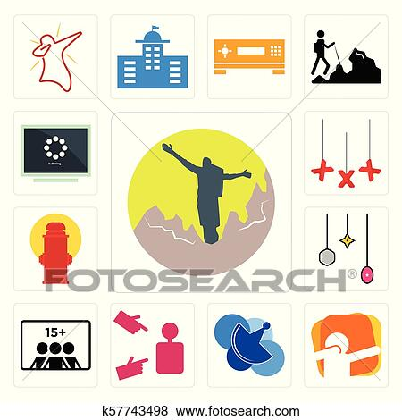 Set of hiker, dab, telecom, advisor, number players, christmas bulb, fire  hydrant, xxx, buffering icons Clip Art