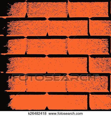 Vecteur Dessin De Une Orange Mur Brique Format Carre Cadre Clipart K26482418 Fotosearch