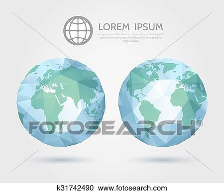 Clipart Of Vector Polygonal Globe 3d Triangular World Map Of The