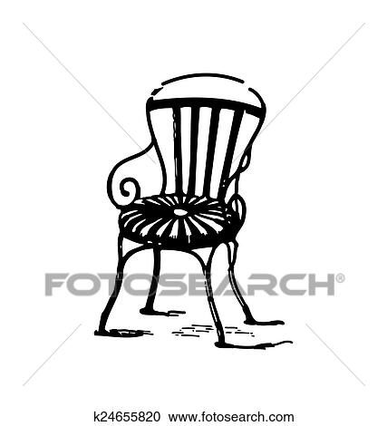 Antique Style Engraving Of Vintage Metal Chair