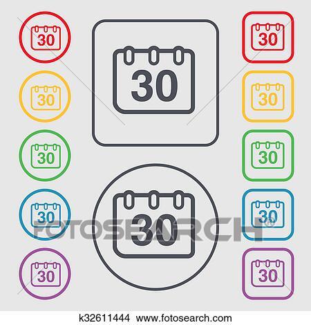 Simbolo Calendario.Calendario Icona Segno Simbolo Su Il Rotondo E Quadrato Bottoni Con Frame Archivio Illustrazioni