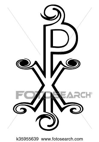 Clip Art Of Chi Rho Symbol For Christ Labarum Christogram