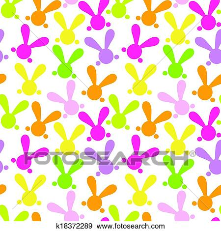 Clip Art Of Colorful Seamless Patern With Easter Bunny Vector