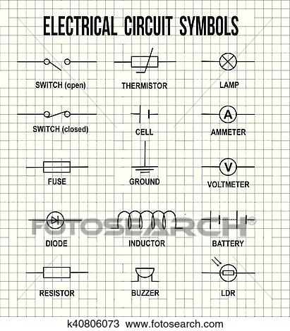 Clipart of Electrical circuit symbols k40806073 - Search Clip Art ...