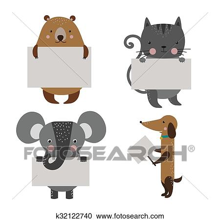 Fauve Zoo Banniere Vecteur Dessin Anime Ensemble Clipart