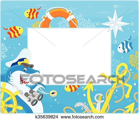 Clipart of Frame with a shark captain k35639824 - Search Clip Art ...