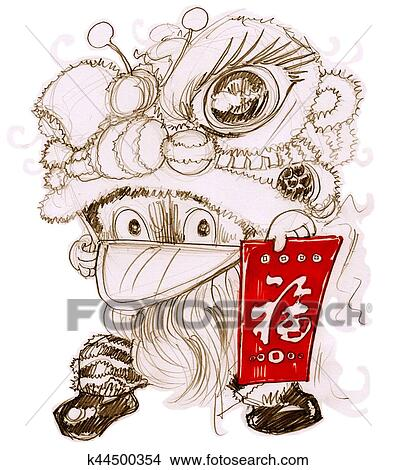 drawing lion mascot chinese new year festival cat cartoon fotosearch search clip art