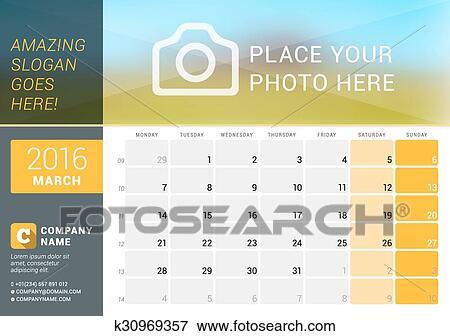 Calendario Con Numero Settimane.Marzo 2016 Calendario Scrivania Per 2016 Year Vettore Disegno Stampa Sagoma Con Posto Per Foto Logotipo E Contatto Information