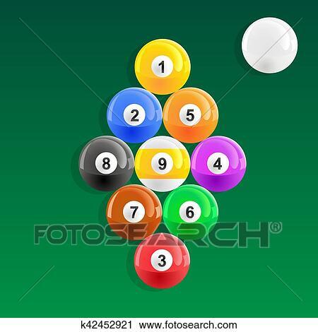Clipart Of Nine Ball Pool Rack K42452921