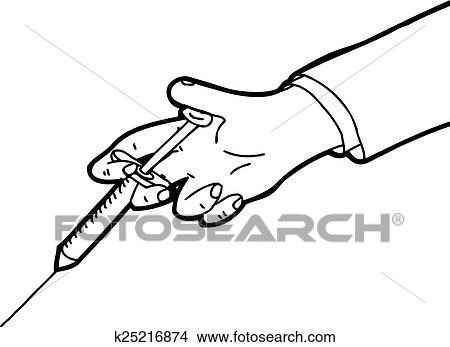 Clipart of outline of hand holding needle k25216874 search clip cartoon outline of hand holding hypodermic needle voltagebd Image collections