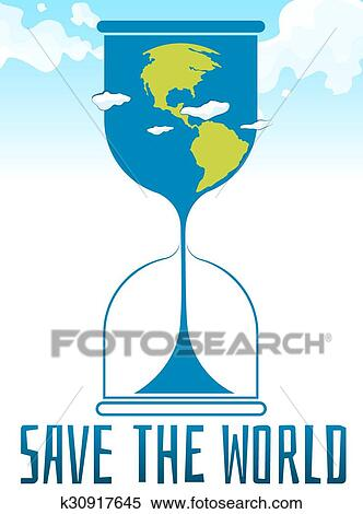 Clipart   Save The World Poster With Sandwatch. Fotosearch   Search Clip  Art, Illustration