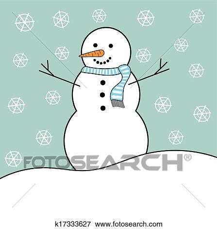 Clip Art Schneemann In Winterbilder K17333627 Suche Clipart