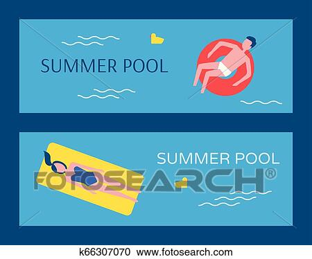 Summer Swimming Pool Posters Vector Illustration Clipart ...