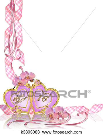 Drawing of sweet 16 birthday invitation border k3393083 search drawing sweet 16 birthday invitation border fotosearch search clipart illustration fine filmwisefo