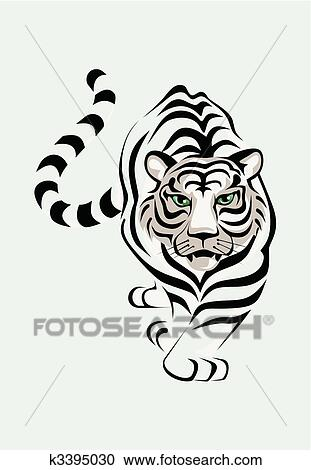 clipart of the white tiger is stolen a vector illustration k3395030 rh fotosearch com White Tiger Head Clip Art white tiger clipart free
