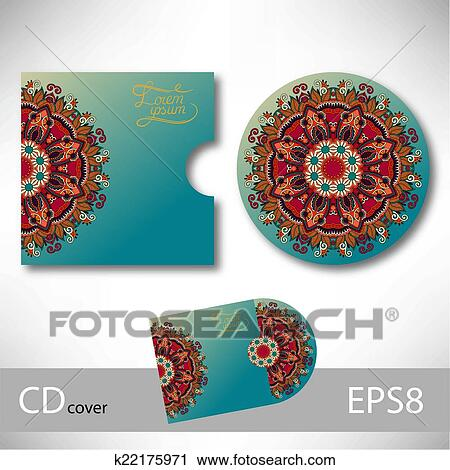 Clipart of CD cover design template with ukrainian ethnic style ...