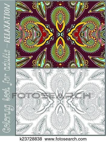 Clip Art - libro colorear, página, para, adultos, -, flor, cachemira ...
