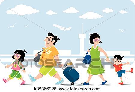 Clip Art Lustig Familie In Flughafen Geht Auf Vacation