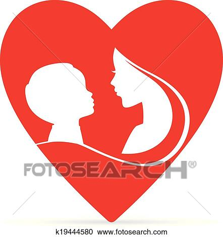 Clipart Of Mother And Son K19444580 Search Clip Art Illustration