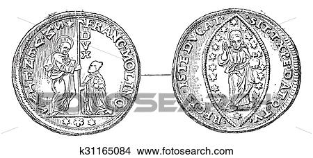 Old Venetian gold coin, Cabinet copy of medals of the Imperial Library,  vintage engraving  Stock Illustration