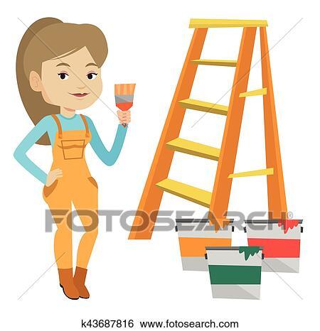 Peintre A Pinceau Vecteur Illustration Clipart K43687816 Fotosearch