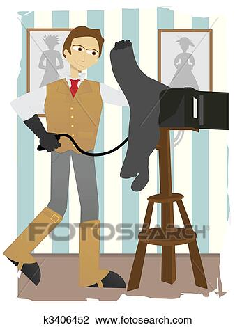 Clipart Of Photographer Taking Picture On Old Fashion Box Camera In