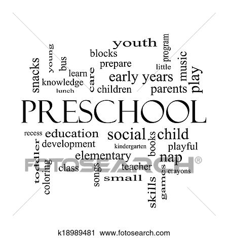 Stock photography preschool word cloud concept in black and white fotosearch search stock