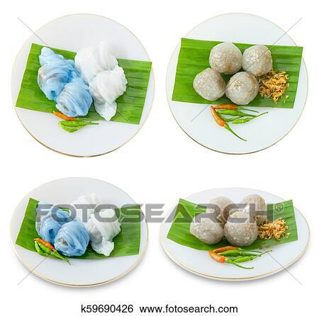 Thaï, riz cuit vapeur, peau, boulette, à, tapioca, balles..