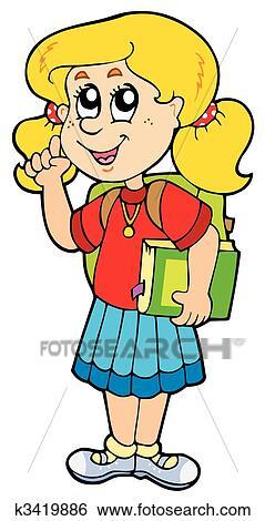 clip art of advising school girl k3419886 search clipart rh fotosearch com school going girl clipart high school girl clipart