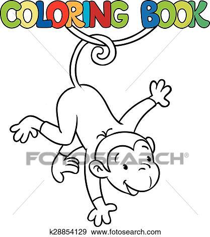 Clip Art Ausmalbilder Von Litle Lustig Affe Auf Lian