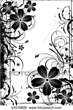 Clip Art - blumen-, hintergrund, in, schwarz weiß, colors. k3416806 ...