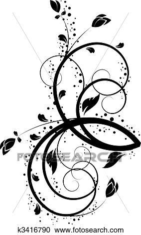 Clipart Blumen Hintergrund In Schwarz Weiss Colors K3416790
