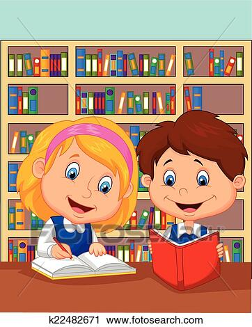 Clipart Of Cartoon Boy And Girl Study Together K22482671 Search