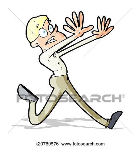 Clip Art Of Cartoon Man Running Away K20789576 Search Clipart