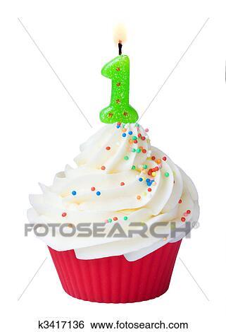 Stock Bilder Erster Geburtstag Cupcake K3417136 Suche