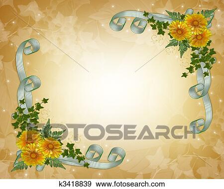 Fiori Gialli Matrimonio.Invito Matrimonio Fiori Gialli Archivio Illustrazioni K3418839