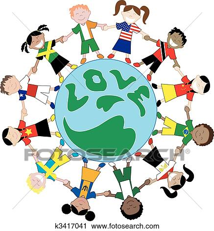 clipart of kids flag shirts love globe k3417041 search clip art rh fotosearch com kids around the world clip art coloring page Logo Hands around the World